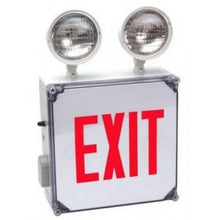 LED Exit Sign Emergency Combo Wet Location with Red Face