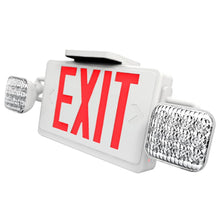 White LED Combo Exit Sign with Red Letters - White Housing