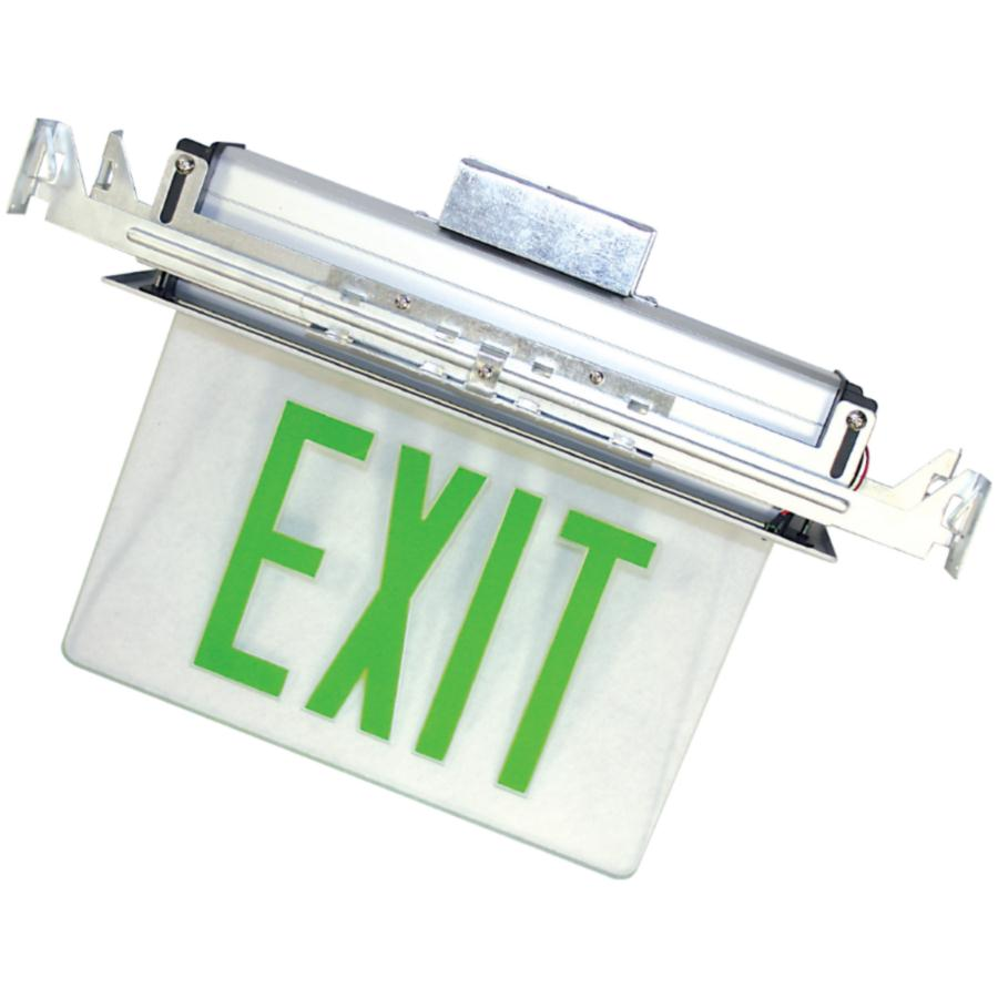 Exit Sign LED - Recessed Edge Lit Double Face - Green