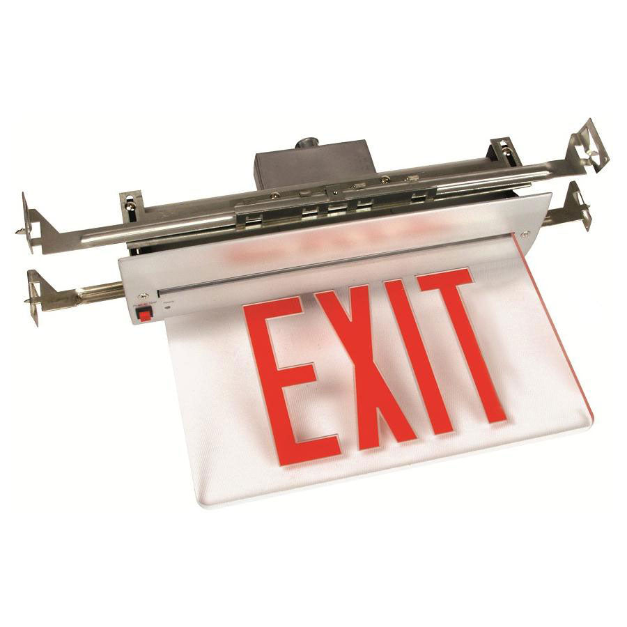 Exit Sign LED - Recessed Edge Lit Single Face - Red
