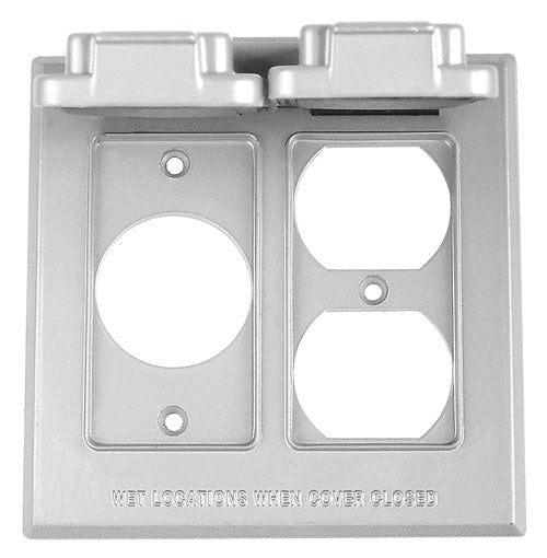 2 Gang Vertical 1 Single Receptacle, 1 Duplex Recetacle Metal Cover