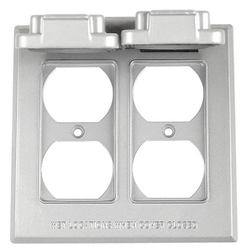 2 Gang Vertical Double Duplex Receptacle Metal Cover Electrical