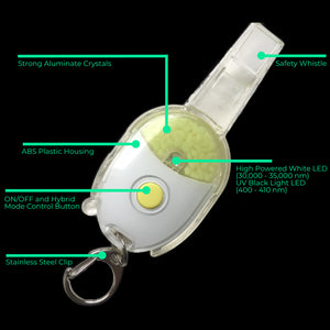 glow in the dark micro safety light whistle MSL