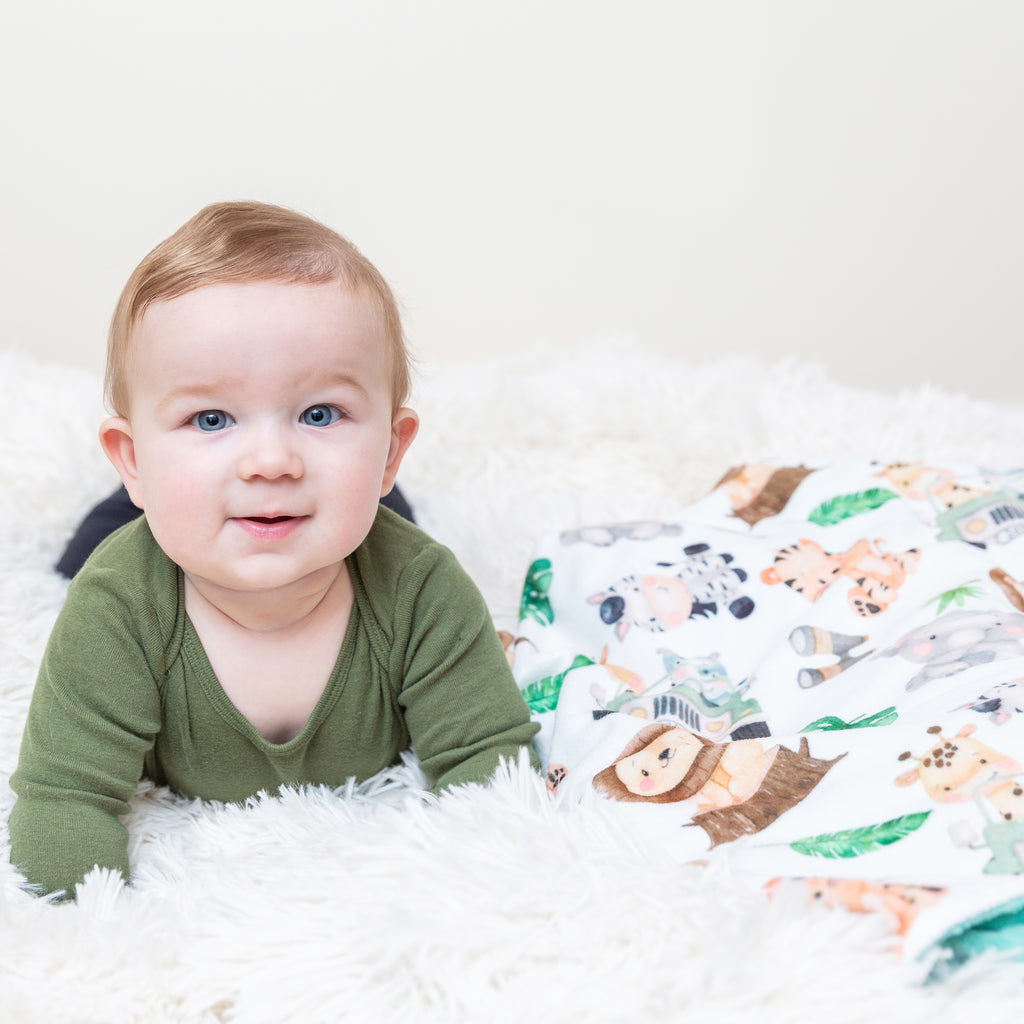 Premium Baby & Toddler Minky Blanket - Safari