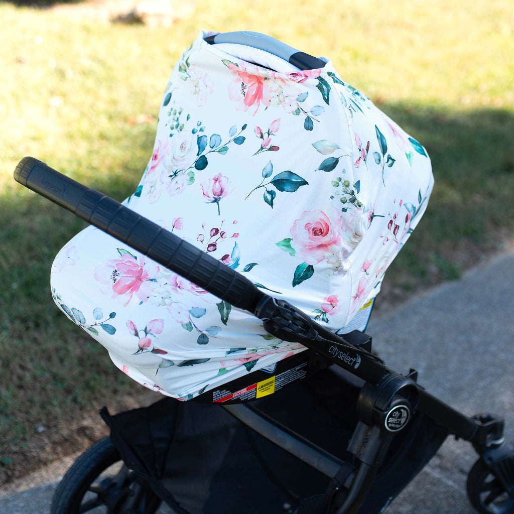 Peach Floral Infant Baby Car Seat / Nursing Cover
