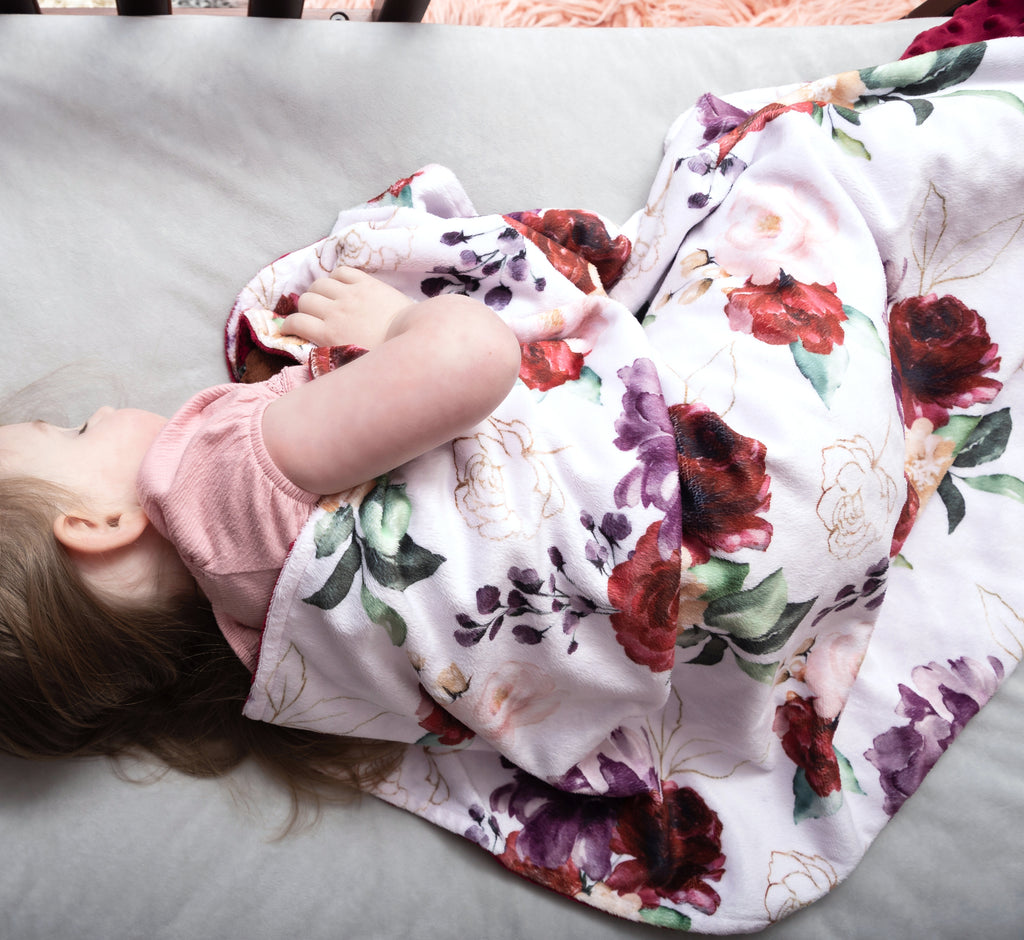 Premium Baby & Toddler Blanket - Red Floral
