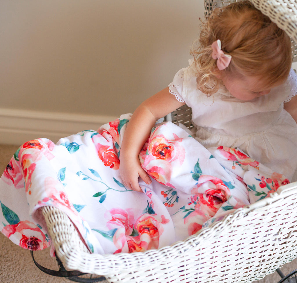 Premium Baby & Toddler Minky Blanket - Pink Floral