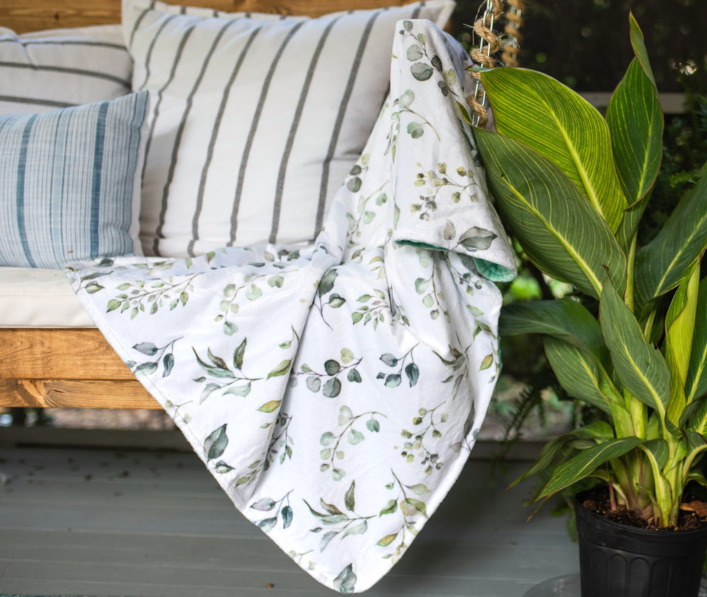 Adult Throw Minky Blanket - Eucalyptus Greenery (2 Sizes Available)