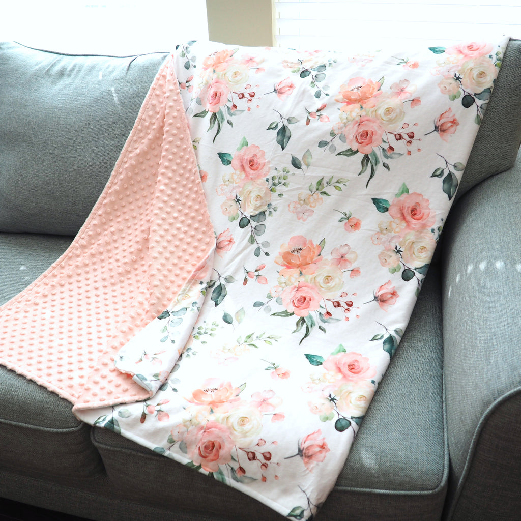 Adult Throw Minky Blanket - Peach Floral (3 Sizes Available)