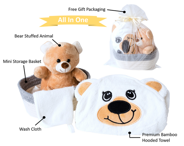Mini Gift Basket - Hooded Baby Bath Towel and Washcloth Set - Brown Bear