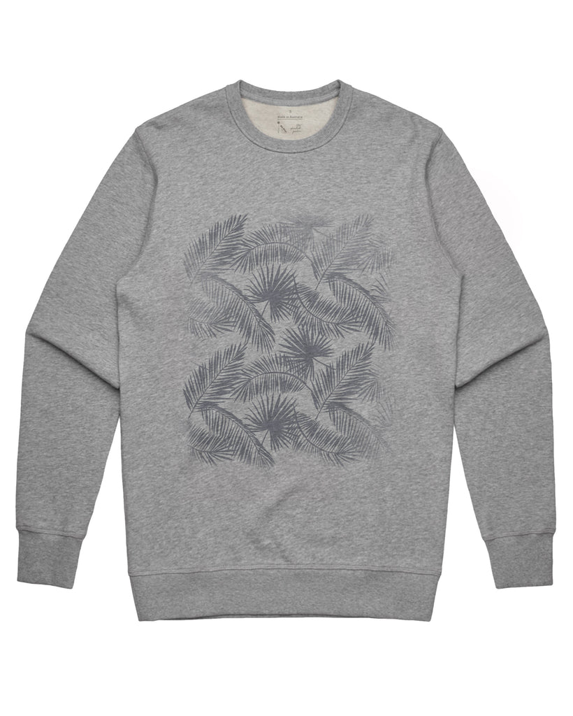 French Terry Sweater - Leaves Grey