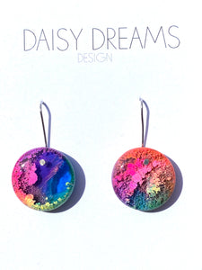 Resin and Ink Hook Earrings