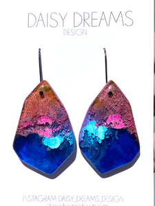 Resin & Ink Statement Hook Earrings