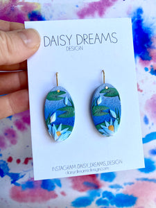 Blue Waterlily Hook Earrings
