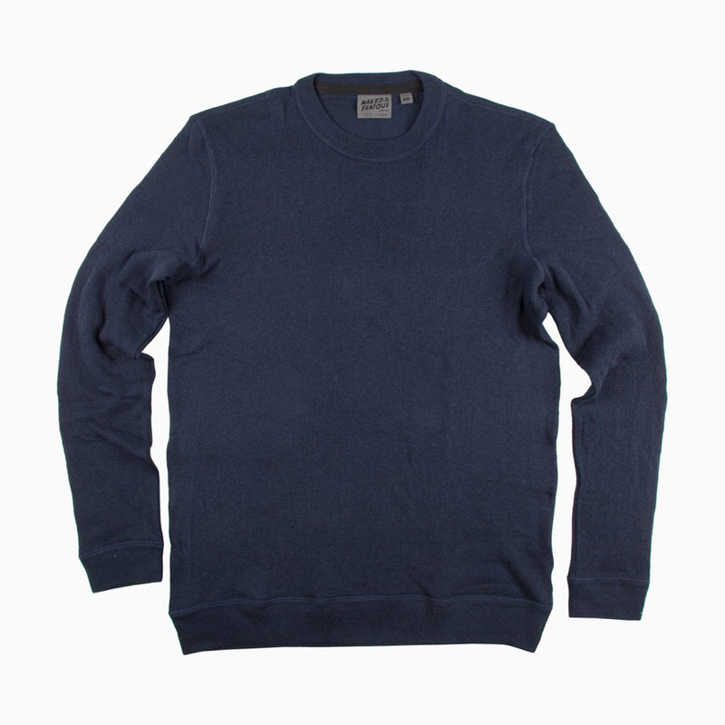 Naked & Famous Slim Crew Vintage Double Face - Solid Navy