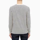 Wood Wood Mel Stripe Long Sleeve - Off-White/Navy Stripes