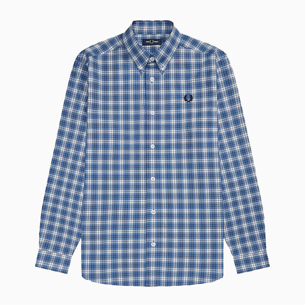 Fred Perry Small Check Shirt - Riviera