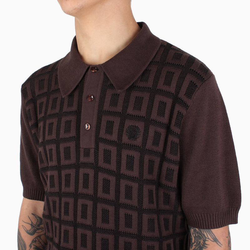 Fred Perry Jacquard Grid Knitted Shirt - Truffle