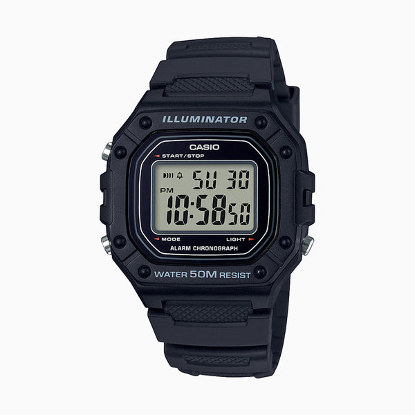 Casio Illuminator Digital LED Light - Black/Resin Band