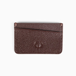 Fred Perry Scotch Grain Leather Card Holder - Dark Brown