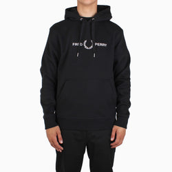 Fred Perry Graphic Hooded Sweatshirt - Black