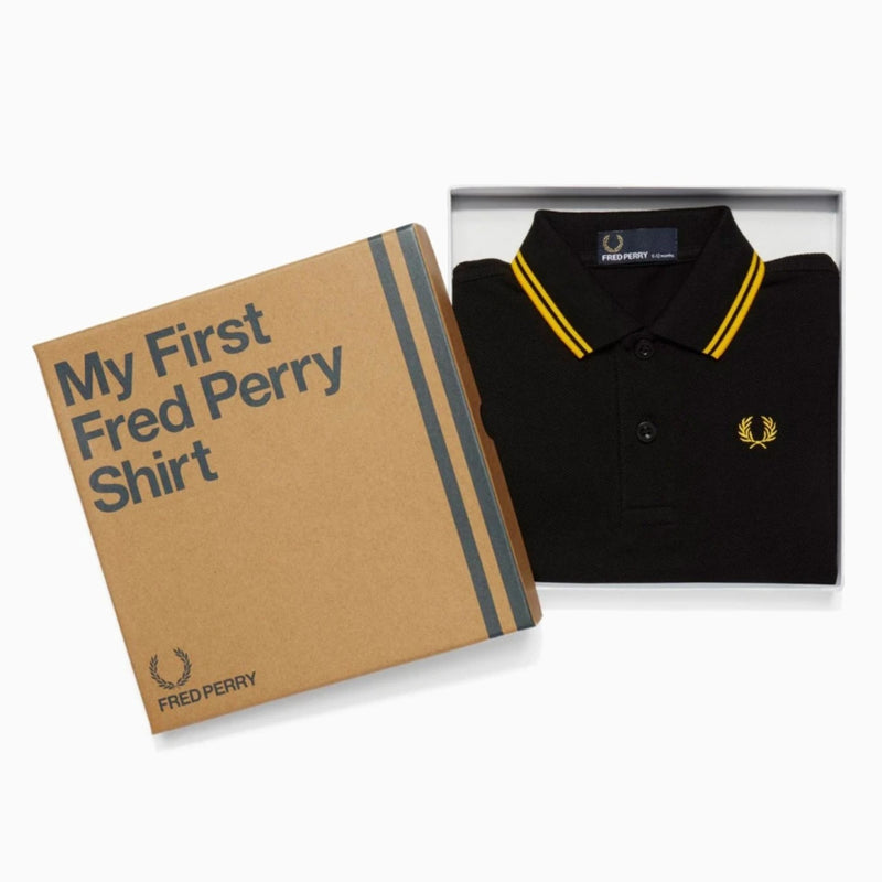 My First Fred Perry Shirt - Black/Yellow/Yellow