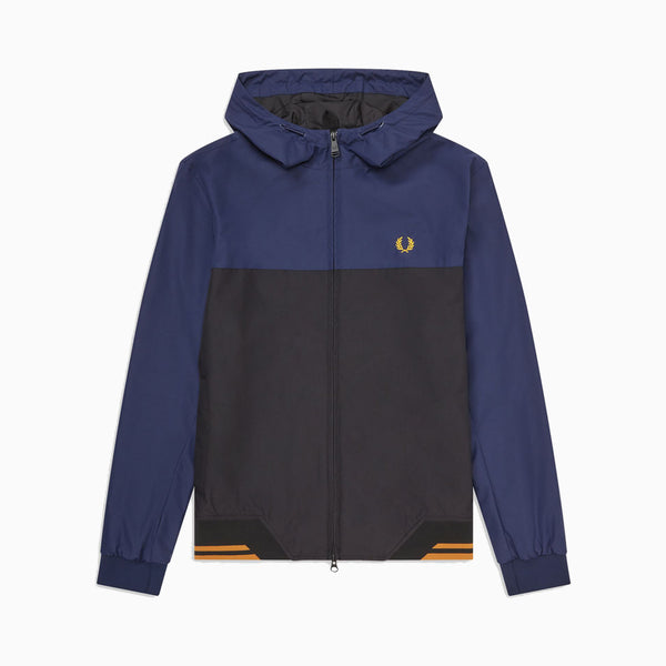 Fred Perry Colour Block Hooded Brentham - Carbon Blue
