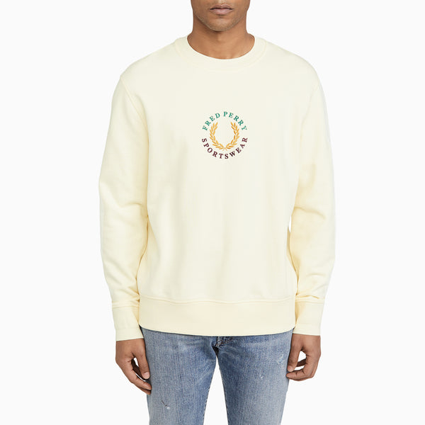 Fred Perry Global Branded Sweatshirt - Butter Icing