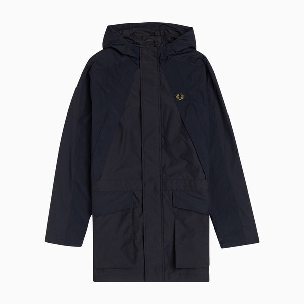 Fred Perry Hooded Mixed Fabric Parka - Navy