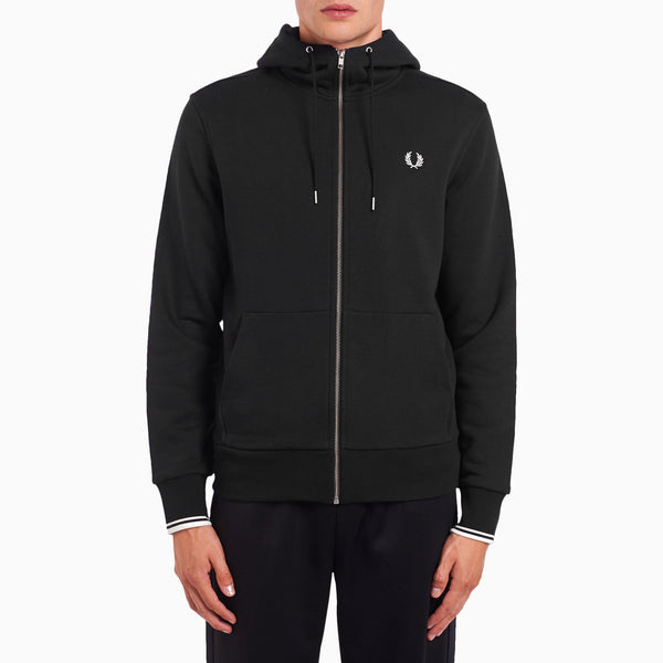 Fred Perry Hooded Zip Through Sweatshirt - Black