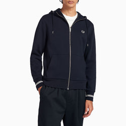 Fred Perry Hooded Zip Through Sweatshirt - Navy