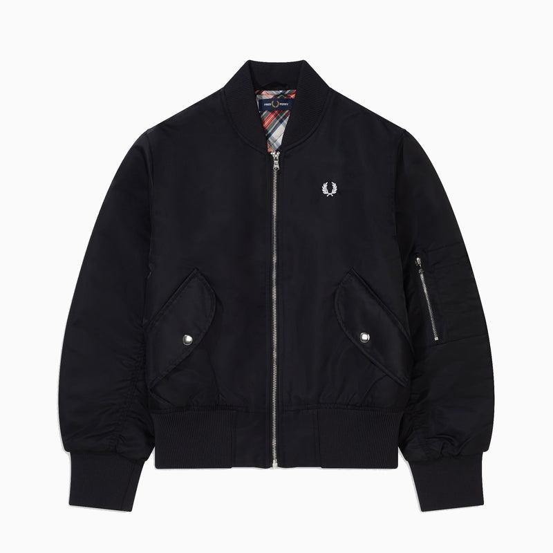 Fred Perry Women's Cropped Ma1 Bomber Jacket - Black