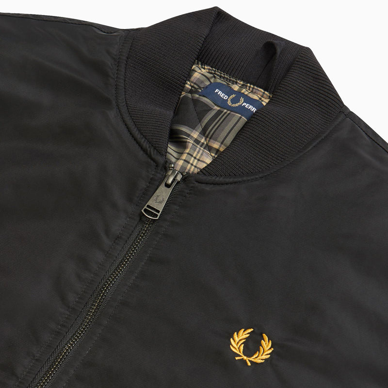 Fred Perry Quilted Bomber Jacket - Black