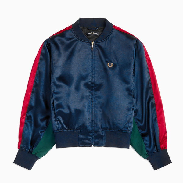 Fred Perry Contrast Panel Bomber Jacket - Navy