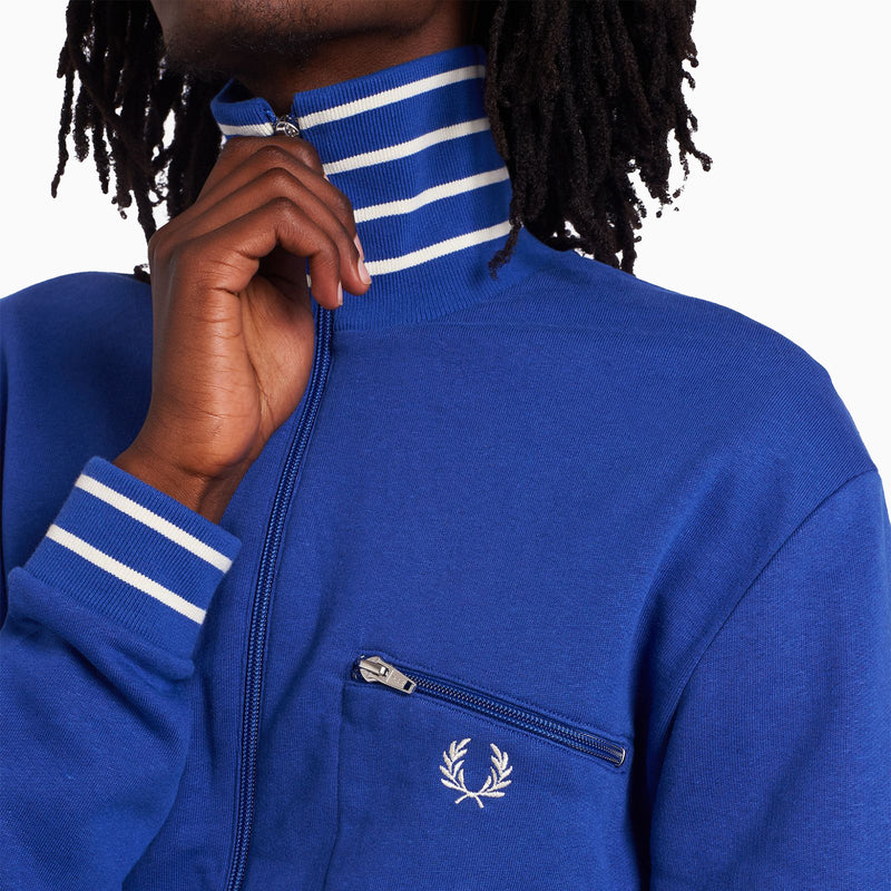 Fred Perry Striped Neck Track Jacket - Bright Blue