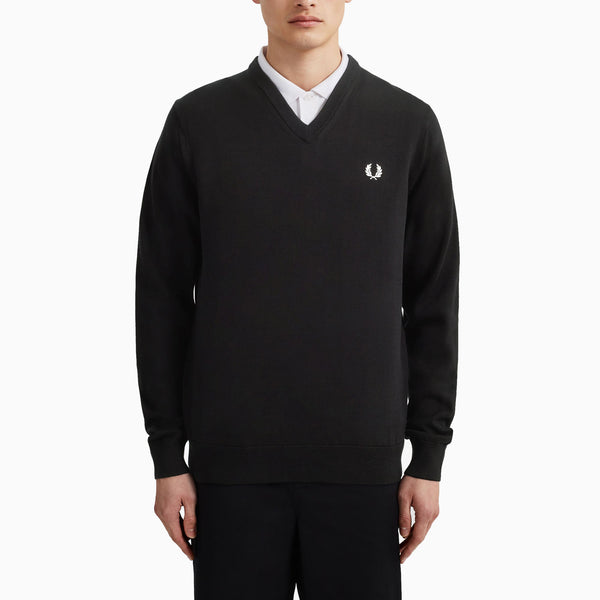 Fred Perry Classic Cotton V Neck Jumper - Black