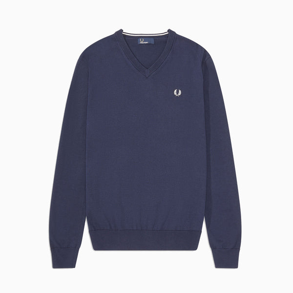 Fred Perry Classic Cotton V Neck Jumper - Deep Carbon