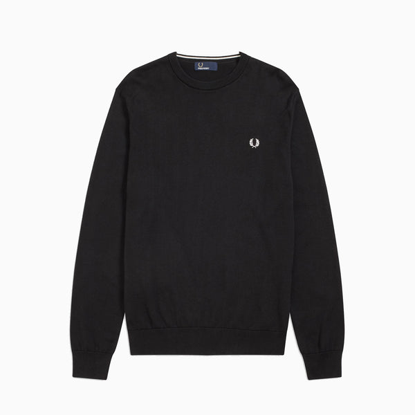 Fred Perry Classic Cotton Crew Neck Jumper - Black