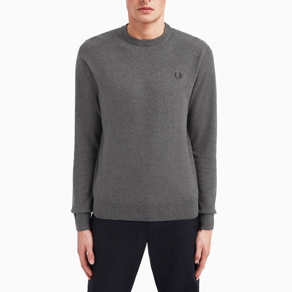 Fred Perry Classic Cotton Crew Neck Jumper - Charcoal Marl