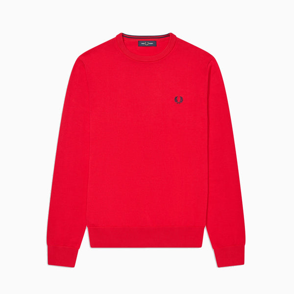 Fred Perry Classic Cotton Crew Neck Jumper - Jester Red