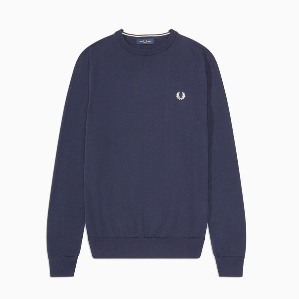 Fred Perry Classic Cotton Crew Neck Jumper - Deep Carbon