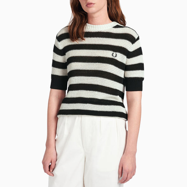 Fred Perry Stripe Knit Jumper - White