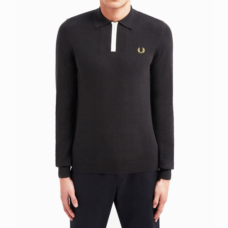 Fred Perry Zip Neck Knitted Shirt - Black