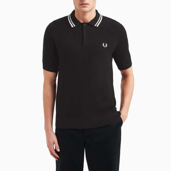 Fred Perry Textured Knitted Shirt - Black