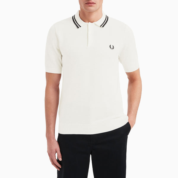 Fred Perry Textured Knitted Shirt - Snow White