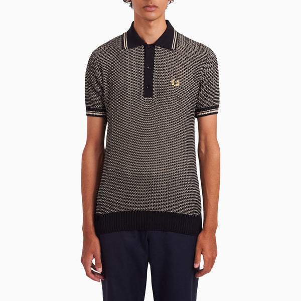 Fred Perry Two Colour Texture Knit Shirt - Black/Champagne