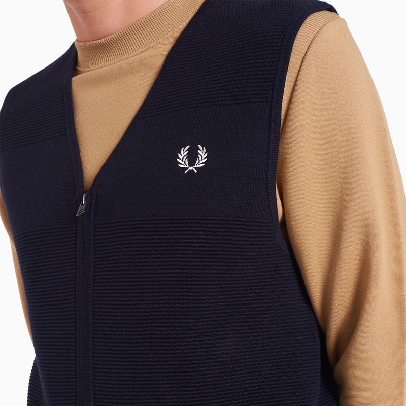 Fred Perry Textured Zip Through Tank - Black Navy