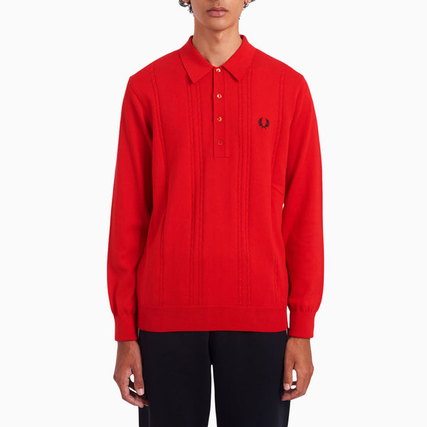Fred Perry Long Sleeve Cable Knit Shirt - Fire Red