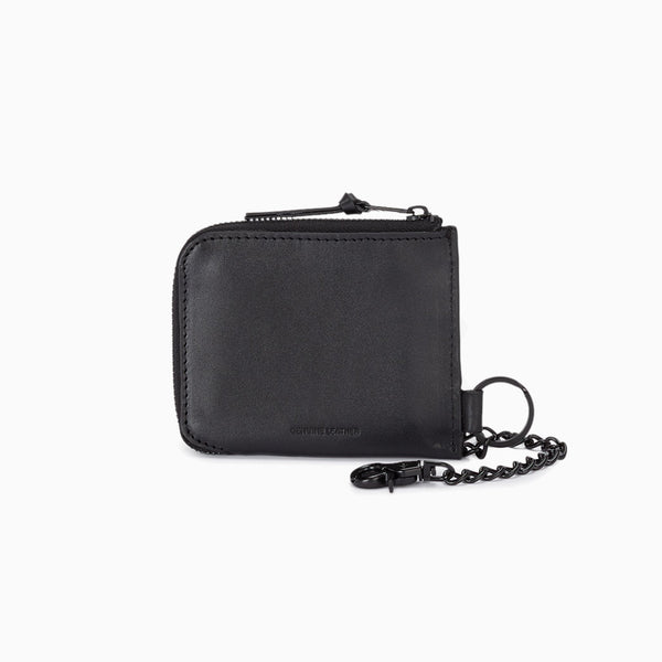 Chained Leather Zip Around Wallet - Black