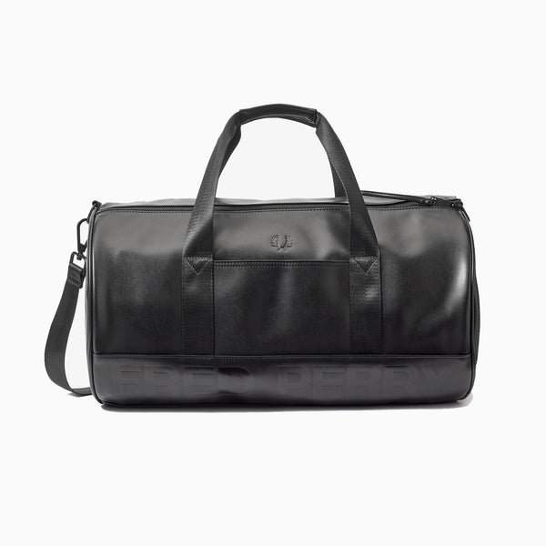 Fred Perry Embossed PU Barrel Bag - Black